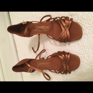 Custom-made bronze satin bachata dance shoes - new